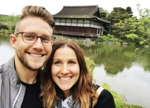 Jenna Rogers, Client Advisor, with husband Ryan in Japan