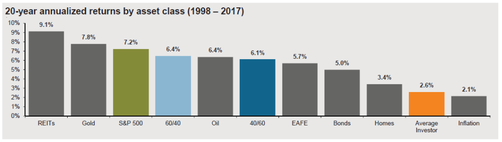 Average Investor 20 year annualized returns