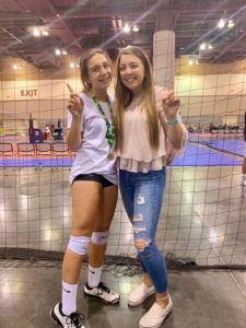 Claudia Arnold-Sawaf's daughters at a volleyball game