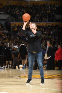 Wes taking the half-court shot at a Lakers game