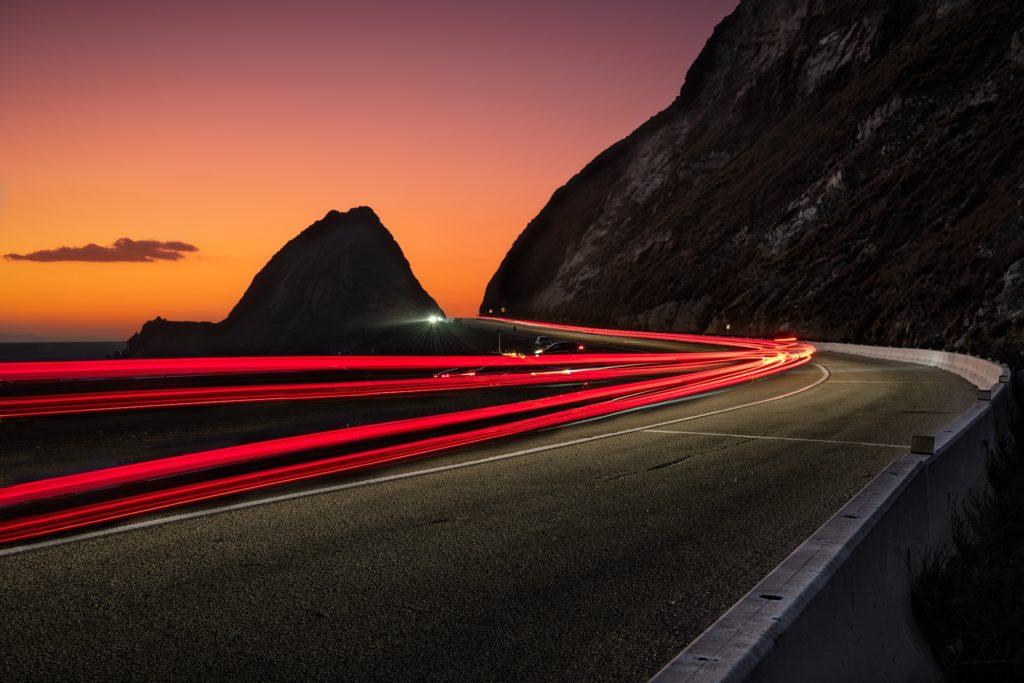 Photo taken by Greg Smith using a long exposure of Pacific Coast Highway near Malibu, California.