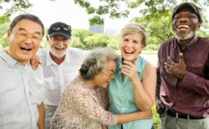 retirees laughing