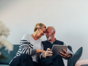 retired couple enjoying each other's company