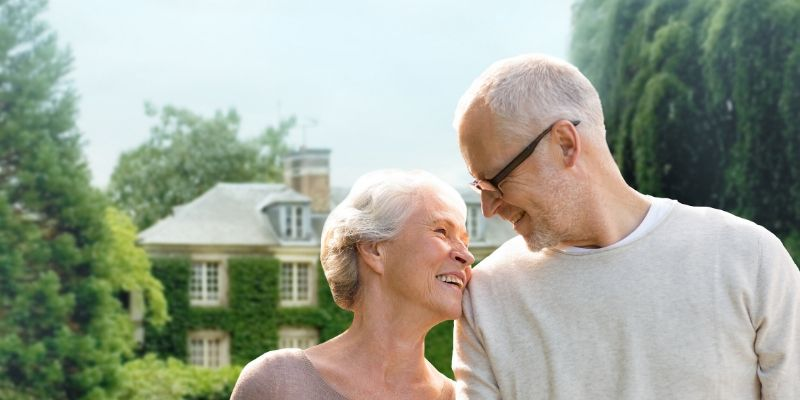 retired couple at their vacation home