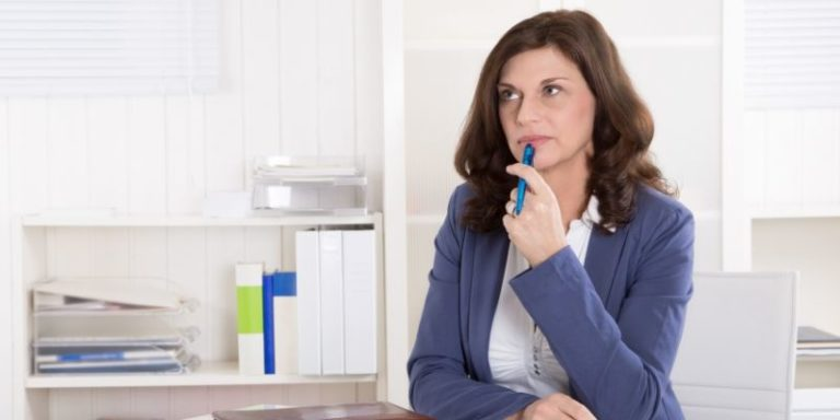 Woman considering financial well-being