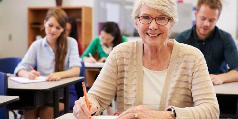 Retiree in higher education class