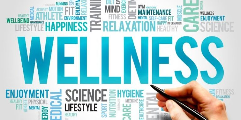 Graphic of words wellness and self-care