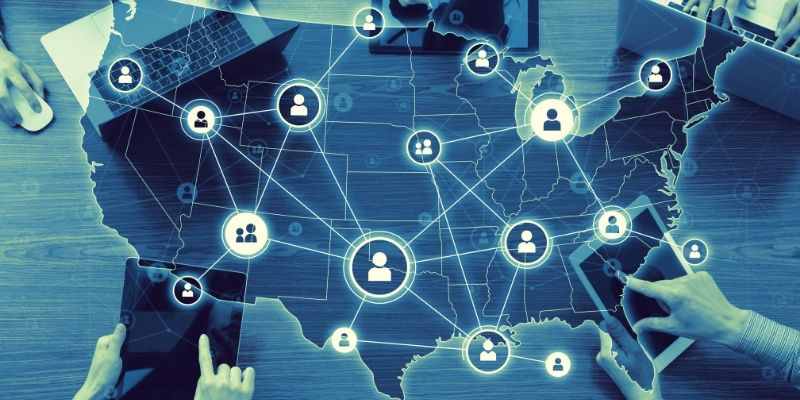 Graphic of the connected United States