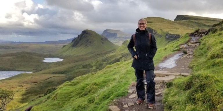 Christy hiking in Scotland Highlands