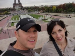 Jorie Pitt and her husband, Stephen, in front of the Eiffel Tower in Paris.