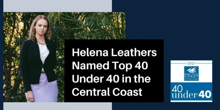 Helena Leathers Named Top 40 Under 40 in the Central Coast